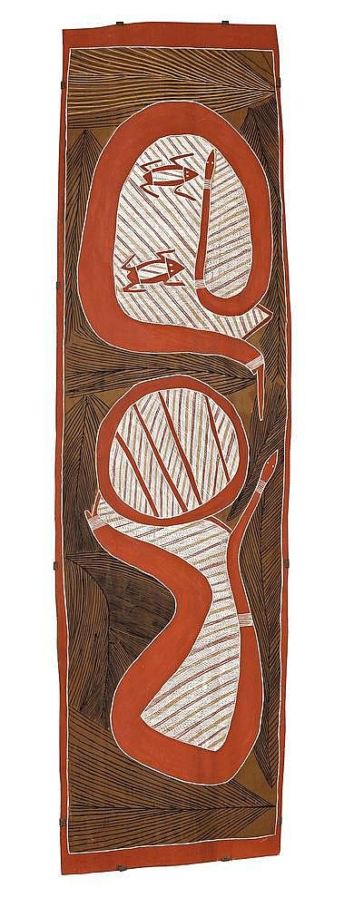 PHILIP GUDTHAYKUDTHAY, born c1925, WITITJ GA GARRKMAN - OLIVE PYTHON AND FROGS, 2003, natural earth pigments on eucalyptus bark