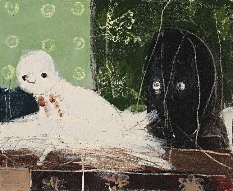 PETER GODWIN, born 1953, SMALL OWL AND MASK, 2009, tempera on canvas on board