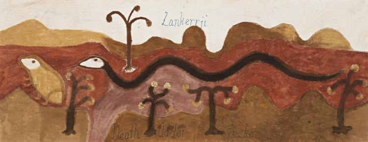 GEORGE MUNG MUNG, (c.1921 – 1991), LANKERRJI – DEATH ADDER SNAKE, 1987, ochres and bush gum on canvas
