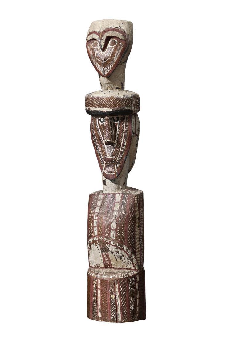 AURANGNAMIRRI WOMMATAKIMMI, (c.1920 – 1973), UNTITLED, (DOUBLE-SIDED TIWI FIGURE), c.1960, natural earth pigments on carved hardwood