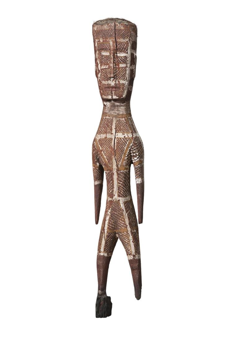 BEN TIPUNGWUTI, (c.1916 – 1979), UNTITLED (TIWI FIGURE), c.1960, natural earth pigments, resin and hair on carved ironwood