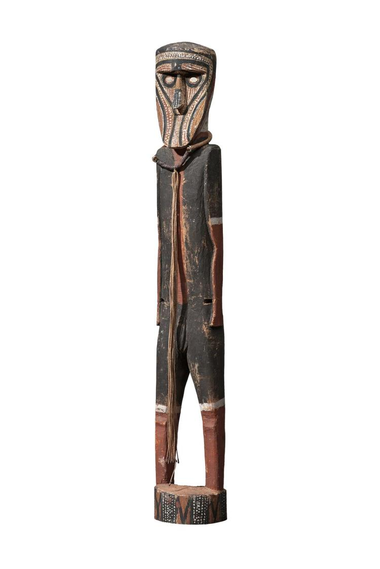 LAME TOBY MUNGATOPI, (c.1920 – DECEASED), PURUKAPALI, c.1955, natural earth pigments on carved hardwood
