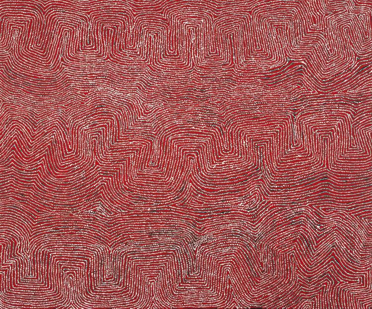 GEORGE WARD TJUNGURRAYI, born c.1945, KAAKURATINTJA (LAKE MACDONALD), 2003, synthetic polymer paint on linen