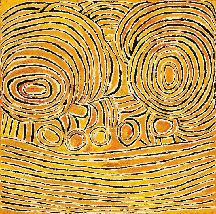 TJUNKIYA NAPALTJARRI, (1927 – 2009), WOMEN'S CEREMONIES AT UMARI, 2007, synthetic polymer paint on linen