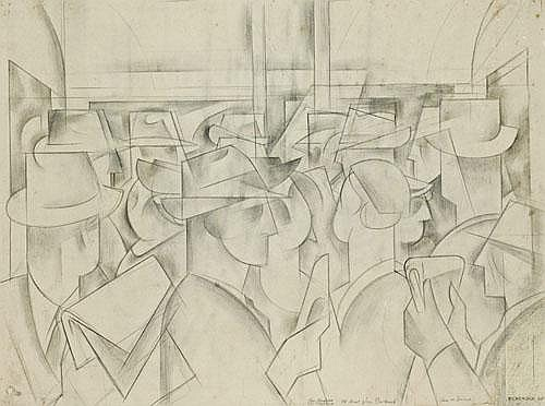 FRANK HINDER Study for Subway People, 1945 pencil