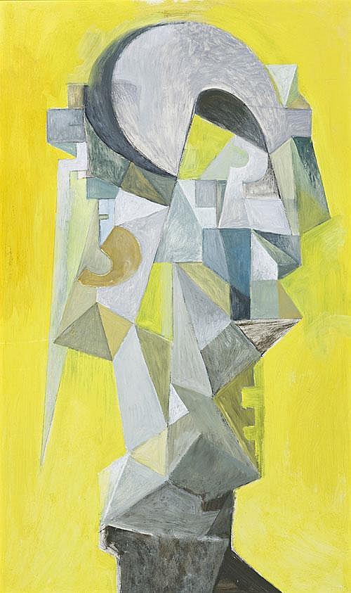 LOUDON SAINTHILL Cubist Bust oil on board 126.5 x