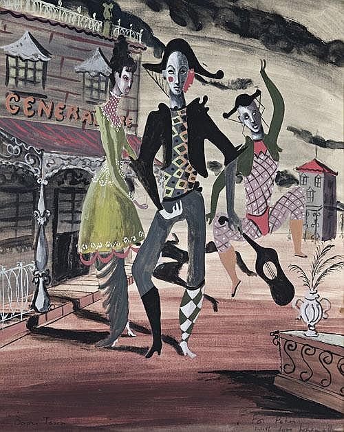 LOUDON SAINTHILL Pierrot watercolour and pencil