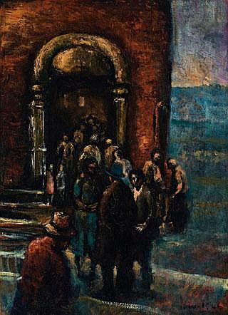 JAMES WIGLEY The Food Queue, 1946 oil on canvas