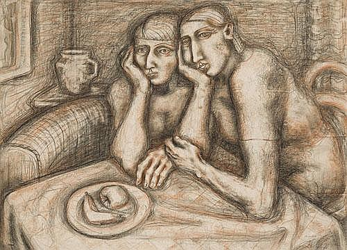 LYNDON DADSWELL Two Women, 1965 charcoal, crayon