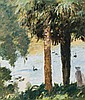 Rupert Bunny 1864 - 1947 TWO PALM TREES  (MELBOURNE BOTANIC GARDENS) , c1932-33 oil on card