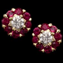18K GOLD STUD EARRING W/ 1.30ct. RUBY & 0.49ct. DIA