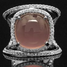 14K GOLD RING W/ 14.19ct. CHALCEDONY & 0.53ct. DIA