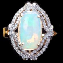 14K GOLD RING W/ 2.18ct. OPAL & 0.33ct. DIA