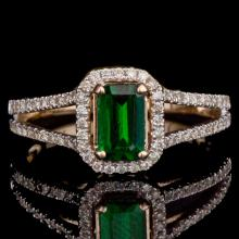14K GOLD RING W/ 0.97ct. EMERALD & 0.48ct. DIA