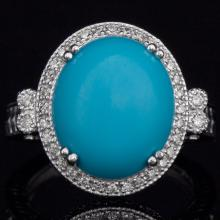 14K GOLD RING W/ 6.61ct. TURQUOISE & 0.37ct. DIA