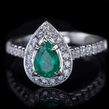 14K GOLD RING W/ 0.70ct. EMERALD & 0.44ct. DIA