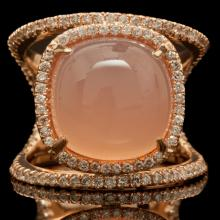 14K GOLD RING W/ 9.70ct. CHALCEDONY & 0.72ct. DIA