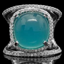 14K GOLD RING W/ 18.48ct. CHALCEDONY & 0.53ct. DIA