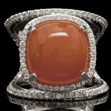 14K GOLD RING W/ 8.45ct. CHALCEDONY & 0.52ct. DIA
