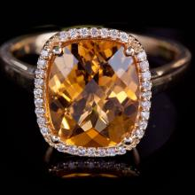14K GOLD RING W/ 3.30ct. CITRINE & 0.12ct. DIA