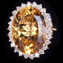 14K GOLD RING W/ 10.22ct. CITRINE & 0.70ct. DIA
