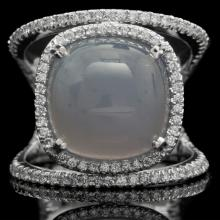 14K GOLD RING W/ 6.50ct. CHALCEDONY & 0.68ct. DIA