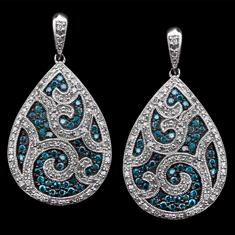 14K GOLD EARRINGS W/ 0.99ct. BLUE DIA & 0.98ct. WHITE
