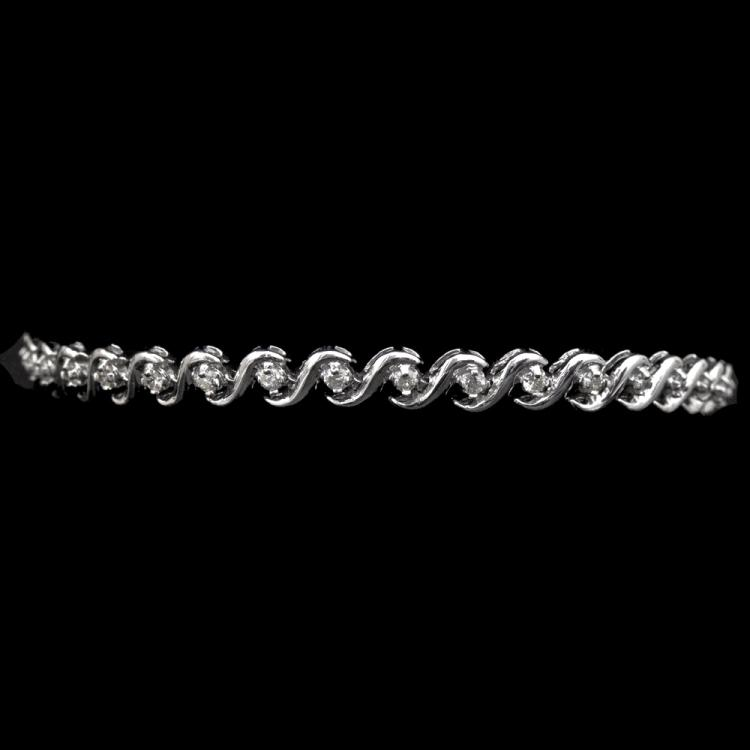 14K GOLD TENNIS BRACELET W/ 1.00ct. DIA