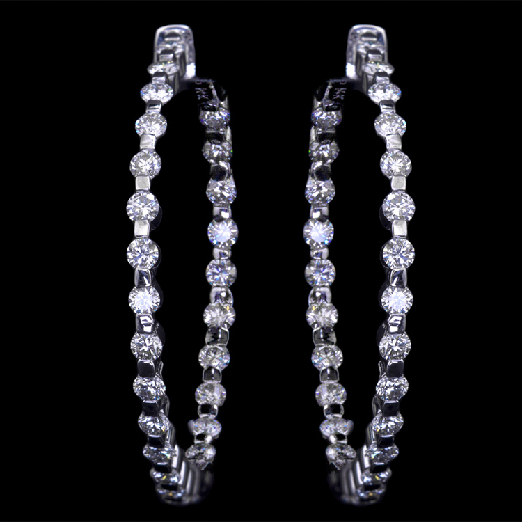 14K WHITE GOLD IN AND OUT EARRINGS     W/ 2.58ct.DIA