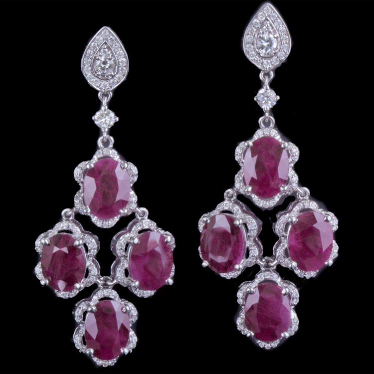14K GOLD EARRING W/ 15.52ct. RUBY & 1.04ct. WHITE DIA