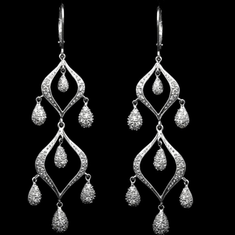18K GOLD DANGLE EARRINGS W/ 1.54ct. DIAMOND