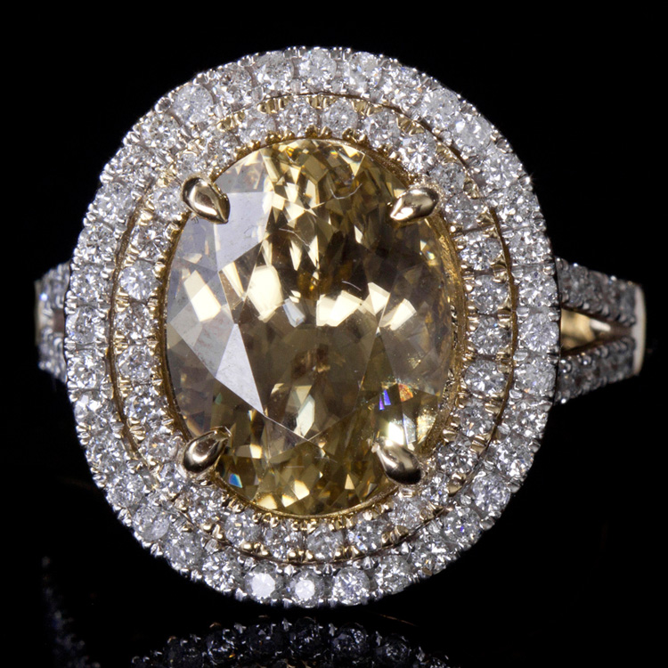 14K GOLD RING W/ 7.85ct. GOLDEN ZIRCON & 0.90ct. WHITE