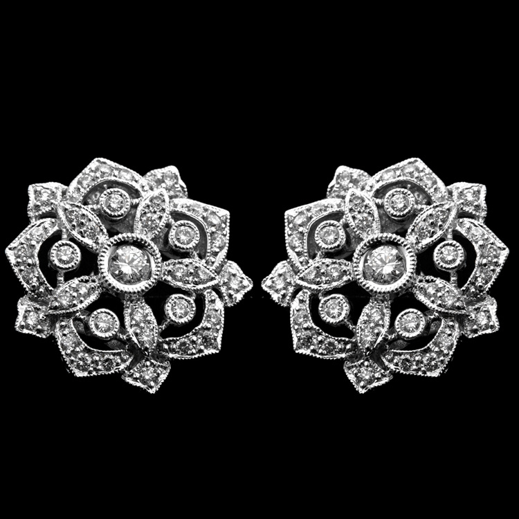 18K WHITE GOLD EARRINGS W/ CLIPS  1.05ct. DIA