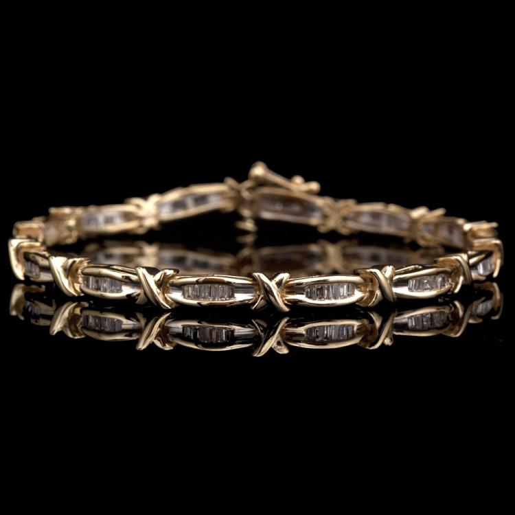 14K GOLD BRACELET W/ 2.00ct. DIAMOND