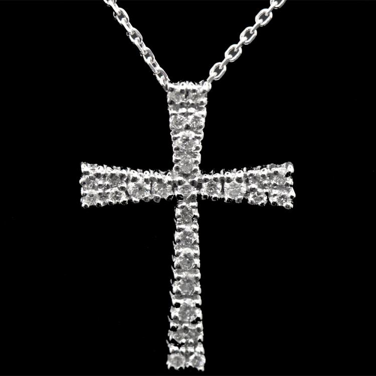 14K GOLD CROSS PENDANT W/ CHAIN W/ 0.17ct. WHITE DIA