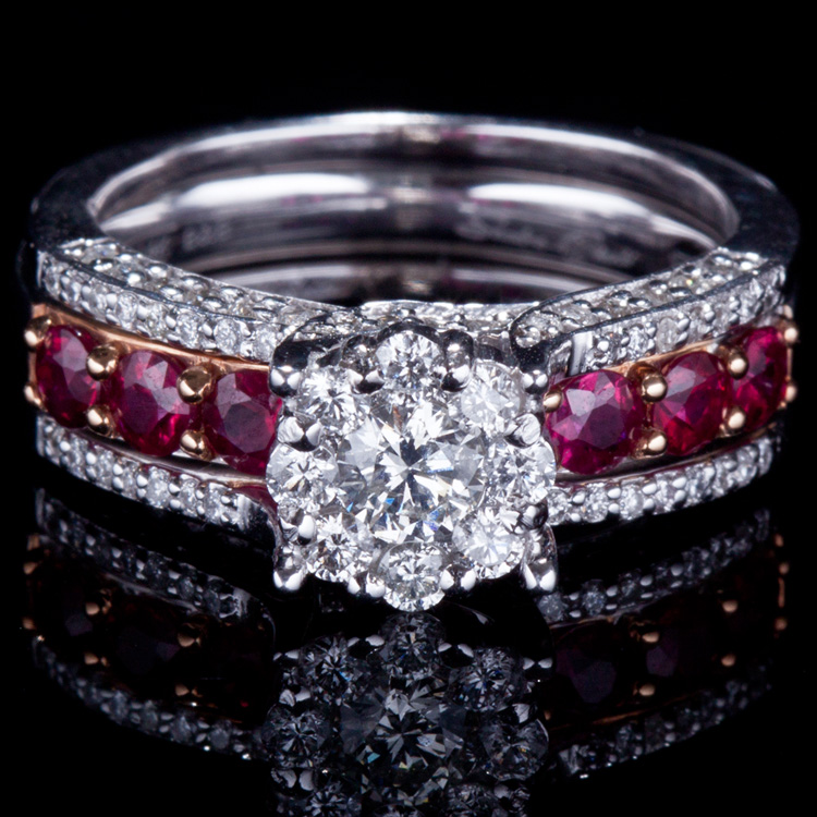 14K GOLD RING W/ 1.00ct. RUBY & 0.88ct. WHITE DIA