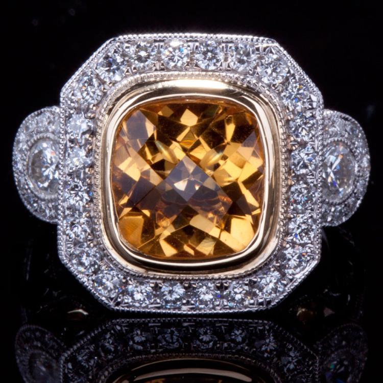 18K GOLD RING W/ 2.50ct. CITRINE & 0.90ct. WHITE DIA