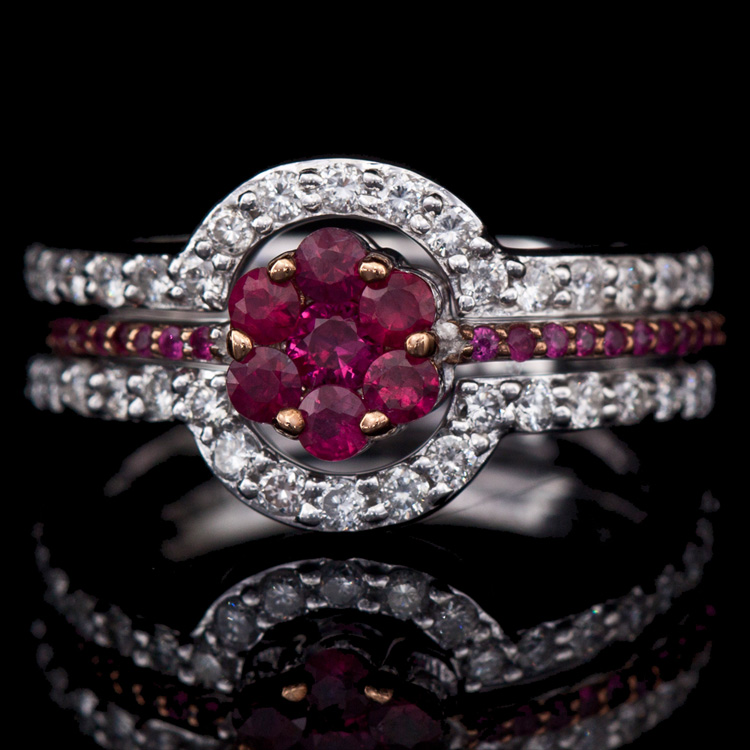 14K GOLD RING W/ 0.62ct. RUBY & 0.71ct. WHITE DIA
