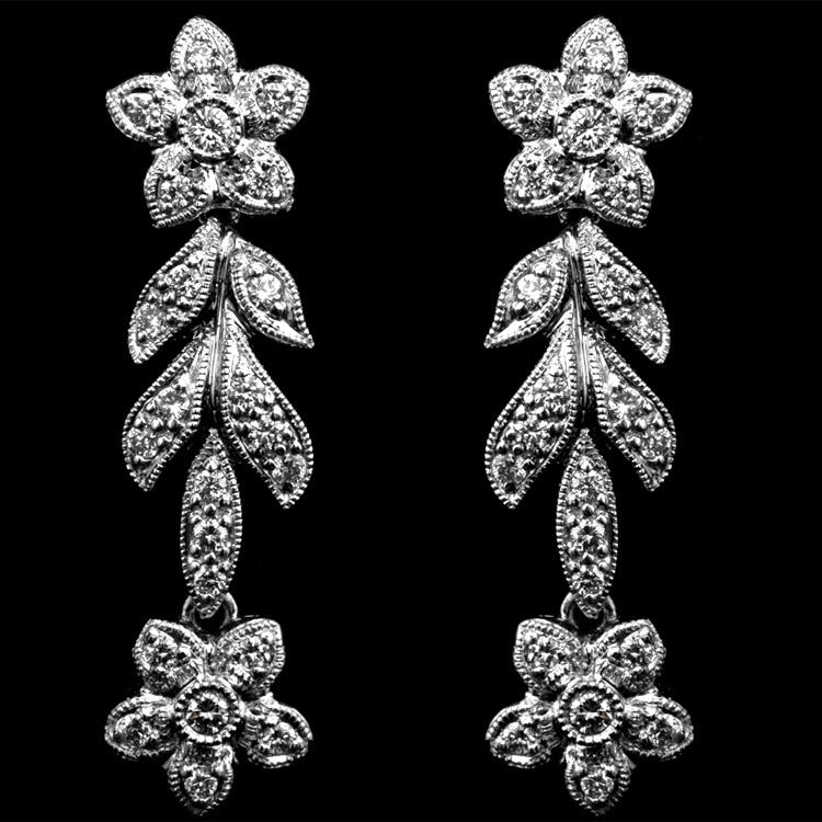 18K GOLD DANGLE EARRINGS W/ 0.49ct.  DIAMOND