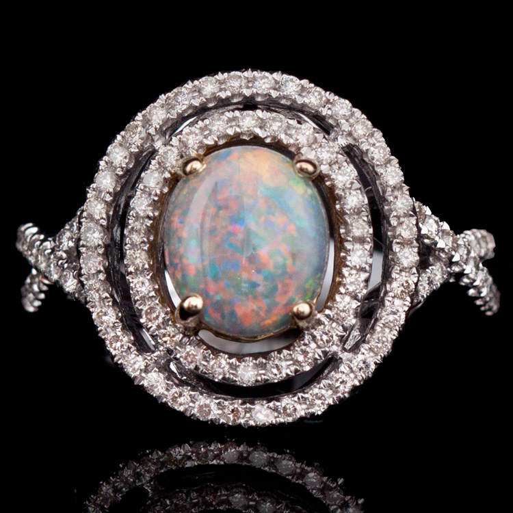 14K GOLD RING W/ 1.29ct. OPAL & 0.41ct. WHITE DIA