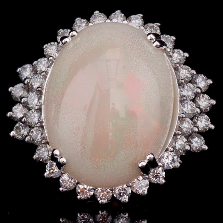 14K GOLD RING W/ 10.91ct. OPAL 1.98ct. WHITE DIA