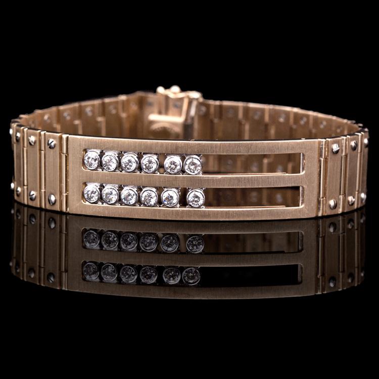 14K GOLD MEN'S BRACELET W/ 1.40ct. DIAMOND