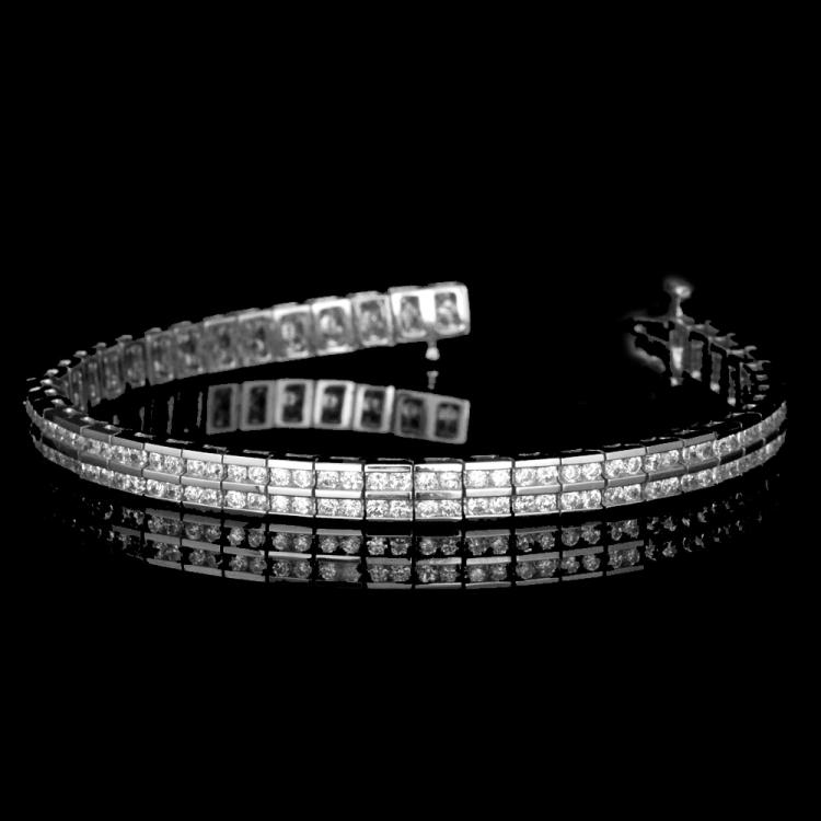 14K GOLD 2 ROWS CHANNEL BRACELET W/ 6.00ct. WHITE DIA