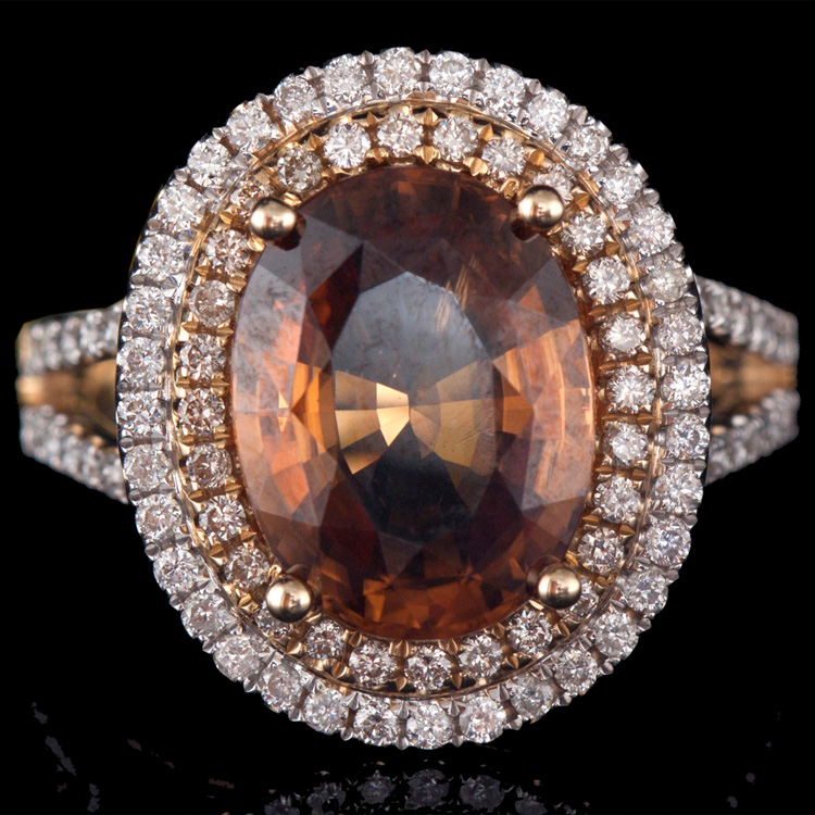 14K GOD RING W/ 6.19ct. HONEY ZIRCON & 0.84ct. WHITE