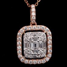14K GOLD FASHION PENDANT W/ 1.29ct. TOTAL DIA WEIGHT