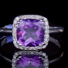 14K GOLD RING W/ 2.02ct. AMETHYST & 0.12ct. WHITE DIA