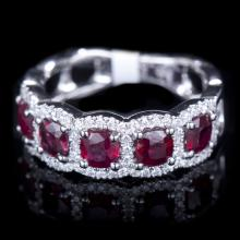 18K GOLD RING W/ 1.91ct. RUBY & 0.32ct. WHITE DIA
