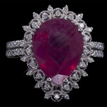 14K GOLD RING W/ 6.68ct. RUBY & 0.52ct. WHITE DIA