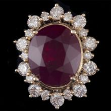 14K GOLD RING W/ 11.85ct. TREATED RUBY & 1.65ct. WHITE