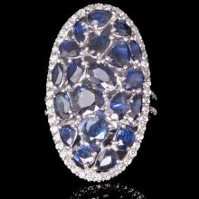 14K GOLD RING W/ 5.08ct. SAPPHIRE 0.60ct. WHITE DIA